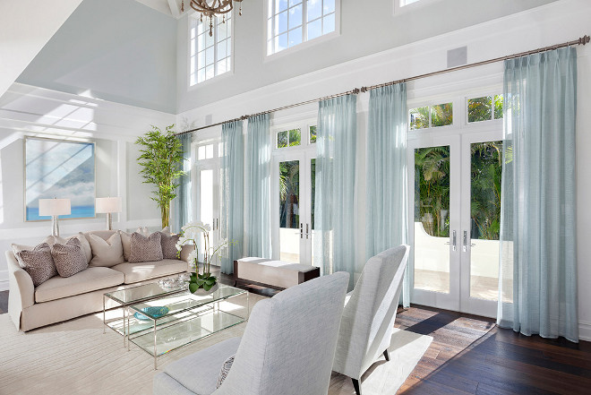 Living room coastal color palette. This formal living room has perfect natural light, custom window treatments and a soft coastal color palette.