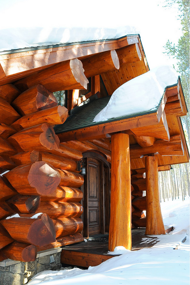 Log Home Wood Stain. Log Home Exterior Staing. Log Home Exterior Wood Stain. This stain is Sikkens Log and Siding Cedar color. #LogHome #Wood #Stain  Mountain Log Homes of CO, Inc.