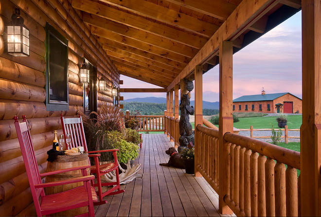 Log home porch. Log home porch ideas. Log home porch decor. Log home porch furniture. #Loghome #porch Coventry Log Homes.