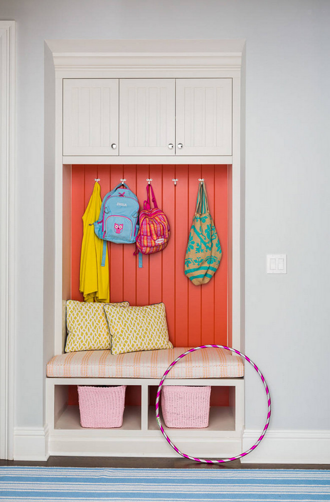 Mudroom Tongue and Groove Cabinet. Mudroom Tongue and Groove Cabinet Ideas. Mudroom Painted Tongue and Groove Cabinet #MudroomTongueandGrooveCabinet Andrew Howard Interior Design.