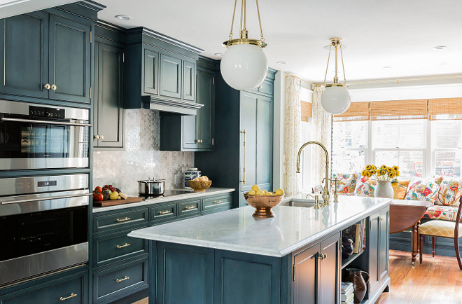 Navy Kitchen Cabinet Paint Color. Stained Navy Kitchen Cabinet Paint Color. #NavyKitchen #PaintColor K.Marshall Design Inc.