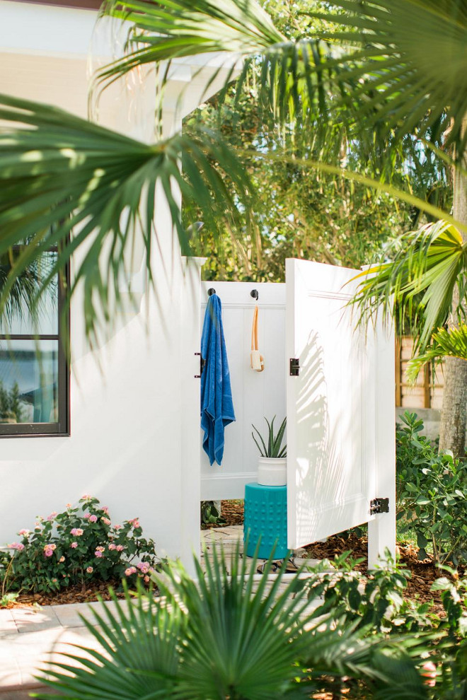 Outdoor Shower. Beach House Outdoor shower. An outdoor shower tucked into the corner of the outdoor living space provides a place to wash off beach sand.