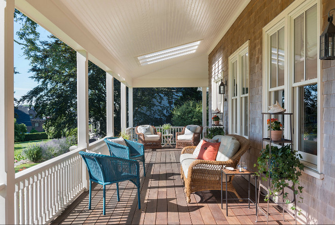 Porch. Porch Ceiling and railing. Porch ceiling with skylight windows and beadboard. #porch #porchceiling #porchrailing Taste Design Inc.