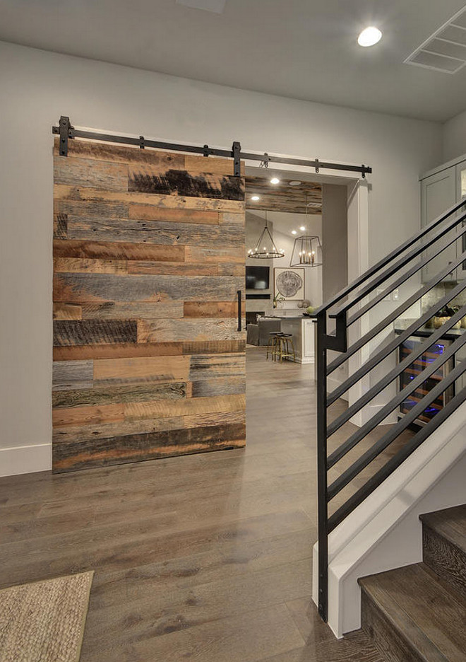 Reclaimed Barn Door Modern Farmouse Foyer with