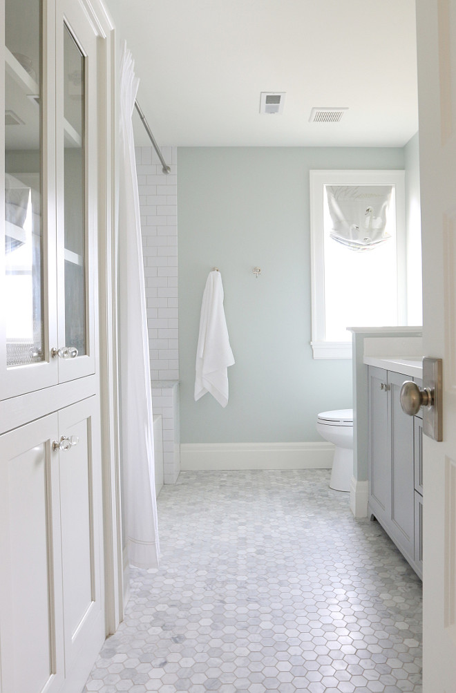 Soft bathroom paint color Sherwin Williams Sea Salt. Sherwin Williams Sea Salt Wall Paint Color. #SherwinWilliamsSeaSalt STUDIO MCGEE