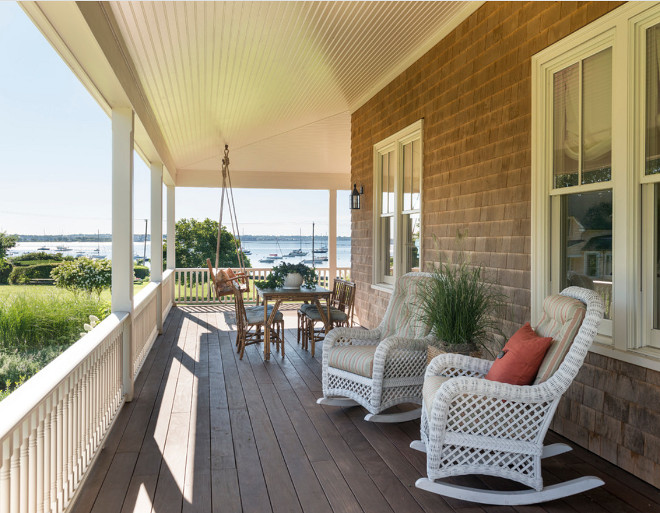 Single home porch. Shingle home front porch with swing and ocean view. Single home porch beadboard ceiling. #Singlehomeporch #Singlehome #porch