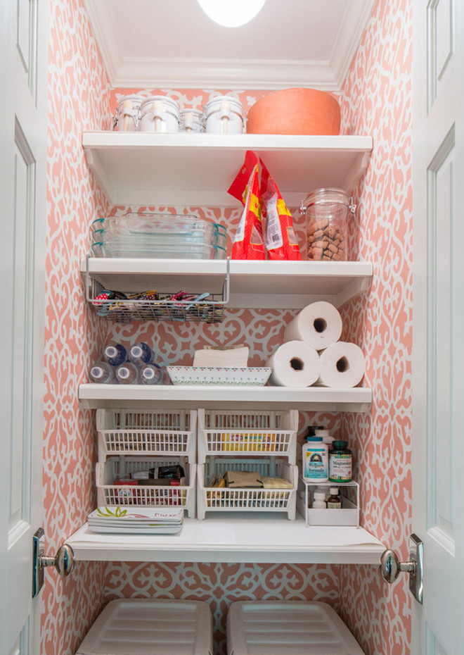 Small Kitchen Pantry. Small Kitchen Pantry Ideas. Small Kitchen Pantry with Shelving and Wallpaper. #SmallKitchenPantry #KitchenPantry Taste Design Inc.