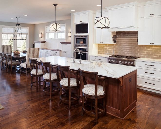 Stained Island with marble countertop. Stained Island with marble countertop. Stained Island with marble countertop #StainedIsland #marblecountertop Pillar Homes.