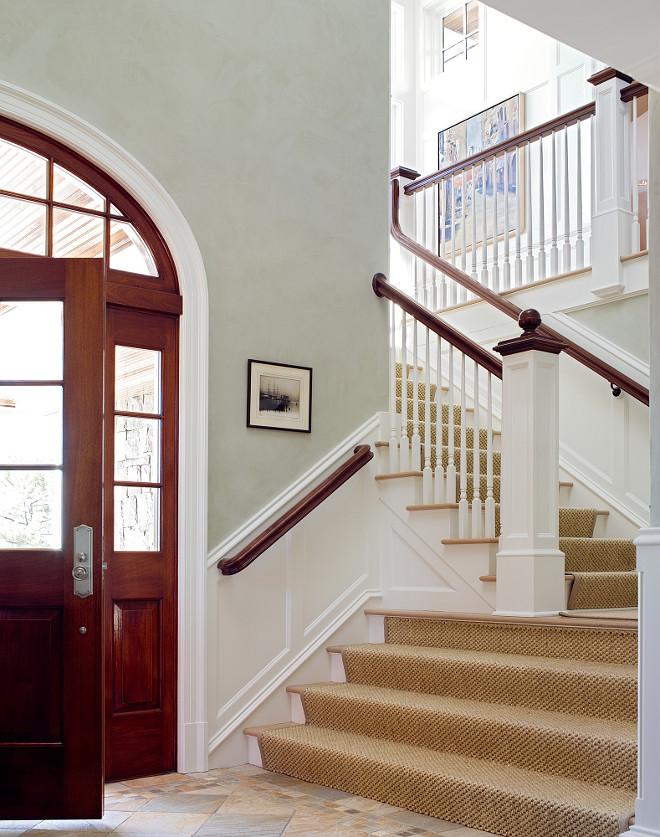 Staircase sisal runner. Staircase sisal runner ideas. Classic foyer with Staircase sisal runner. #Staircase #sisalrunner Peter Cadoux Architects.