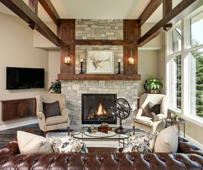 Stone Fireplace. Stone Fireplace Ideas. Stone Fireplace Living room. Living room with Stone Fireplace. Stone Fireplace with beams. #StoneFireplace Pillar Homes.