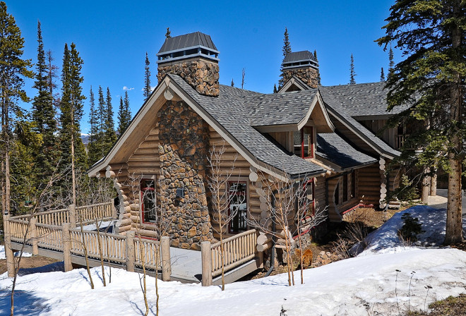 Stone and Log Mountain Home. Stone and Log Mountain Home Exterior. Stone and Log Mountain Home Exterior Ideas. #Stone #Log #MountainHome Mountain Log Homes of CO, Inc.