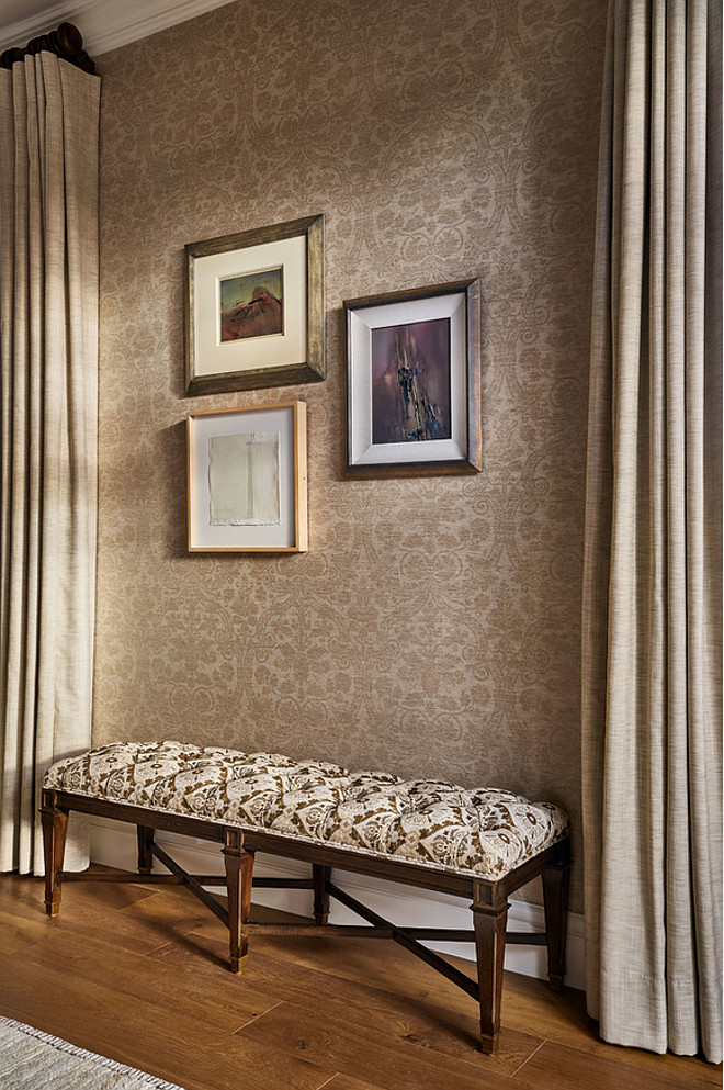 Thibaut Curtis Linen Damask Wallpaper Metallic Gold on Natural.