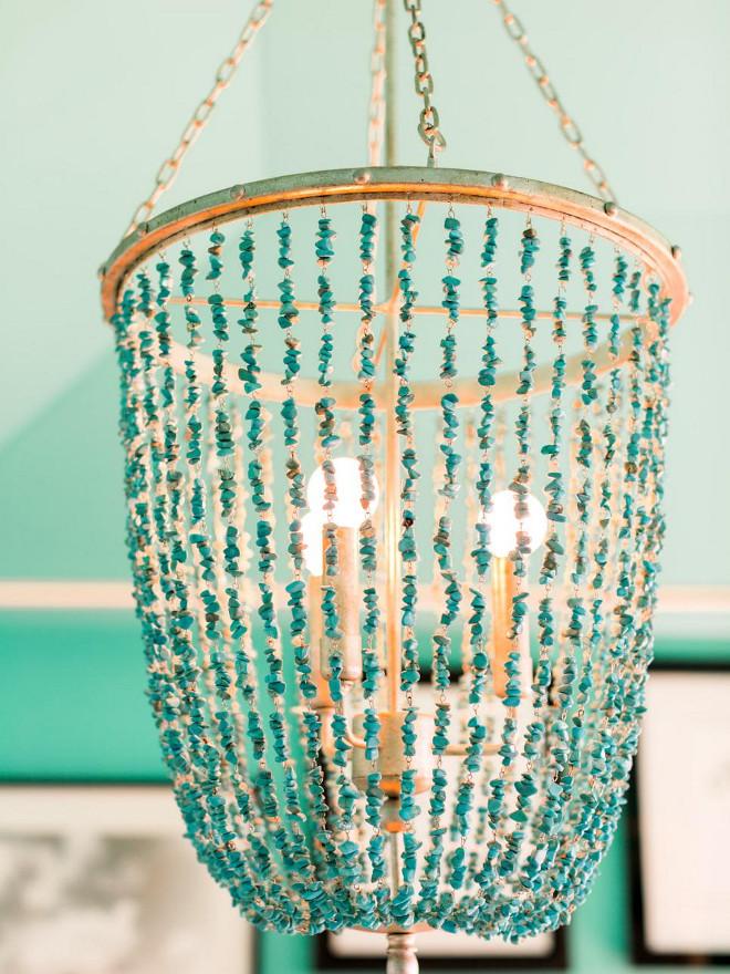 Turquoise Beaded Chandelier. Turquoise Chandelier. Ethan Allen Valerie Chandelier $1,104.00 #turquoise #chandelier