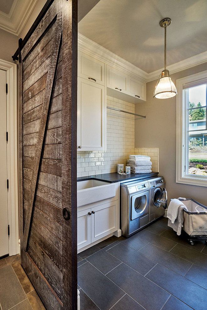Laundry Room Barn Door. Laundry Room Rustic Barn Door. Laundry room with rustic wood barn door. Barn door hardware is from Knownlab in black stainless. #LaundryRoom #BarnDoor #RusticBarnDoor #BarndoorHardware