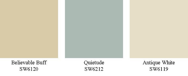 Sherwin Williams Believable Buff SW6120. Sherwin Williams Quietude SW6212. Sherwin Williams Antique White SW6119. Bungalow Homestagers.