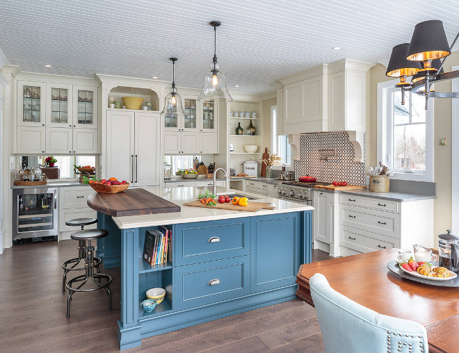 Benjamin Moore Mozart Blue Paint Color Blue island painted in Benjamin Moore Mozart Blue #BenjaminMooreMozartBlue #KitchenBenjaminMooreMozartBlue #Blueislandpaint #Blueislandpaintcolor #BenjaminMoorepaintcolors