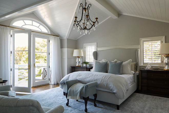 Traditional Bedroom with paneled walls and white plank ceiling. Traditional Bedroom. Traditional Bedroom Wainscotting. Traditional Bedroom Paneling. Traditional Bedroom Paneled Walls. Traditional Bedroom Ceiling. Traditional Bedroom Plank Ceiling #TraditionalBedroom JODI FLEMING DESIGN