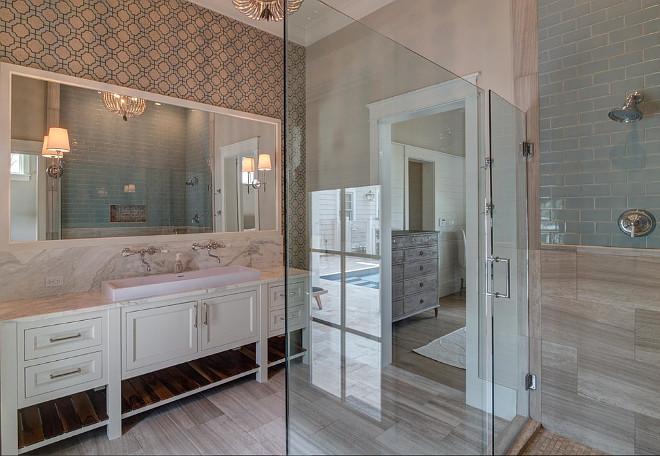 Bathroom Tiling and Wallpaper Ideas. Bathroom combines wall tiles and wallpaper. Bathroom Tiles. Bathroom Tiling. Bathroom Wallpaper #Bathroom #Bathroomtiling #BathroomWallpaper #bathroomtiles #Bathroomwalltiles 30A Interiors
