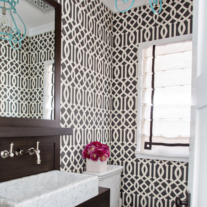 Kelly Wearstler Imperial Trellis Wallpaper in Powder Room, Kelly Wearstler Imperial Trellis Wallpaper #KellyWearstlerImperialTrellisWallpaper #KellyWearstler #ImperialTrellisWallpaper #TrellisWallpaper #KellyWearstlerWallpaper Waterleaf Interiors