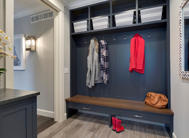 Navy Cabinet Lockers in Mudroom. Mudroom with navy cabinets. The cabinets are enameled in Hale Navy - Ben Moore HC-154. The walls are painted are Silver Chain - Ben Moore 1472. Mudroom #NavyCabinet Grace Hill Design