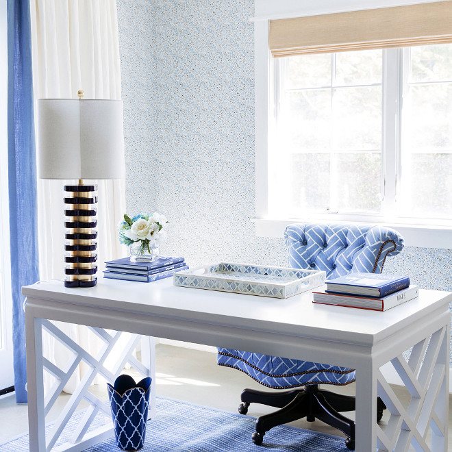 Blue and white office, Home office with blue and white accents, Blue and white interiors, Blue and white accents, Blue and white home decor #Blueandwhite #Blueandwhiteoffice #Blueandwhitehomeoffice #Blueandwhiteinteriors #Blueandwhiteaccents #Blueandwhitehomedecor Waterleaf Interiors