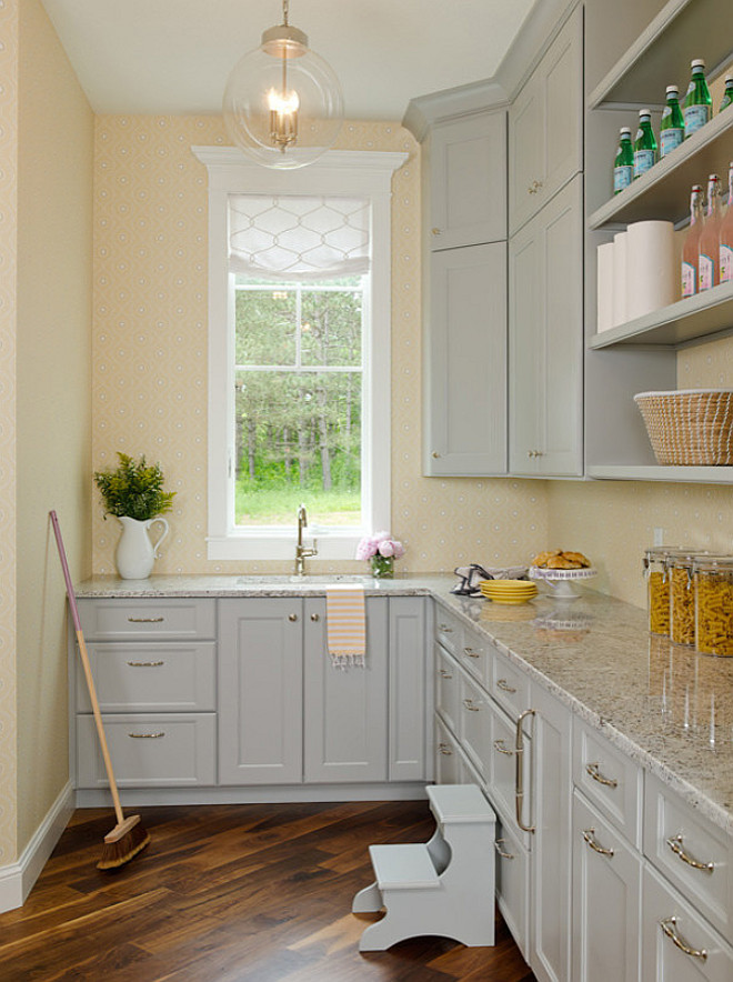 Gray butlers pantry cabinet, Butlers pantry gray cabinet paint color, Butlers pantry gray cabinet and granite countertop #Butlerspantry #GrayButlerspantry #Gaycabinet #Graycabinetpaintcolor #GrayButlerspantrycabinetpaintcolor