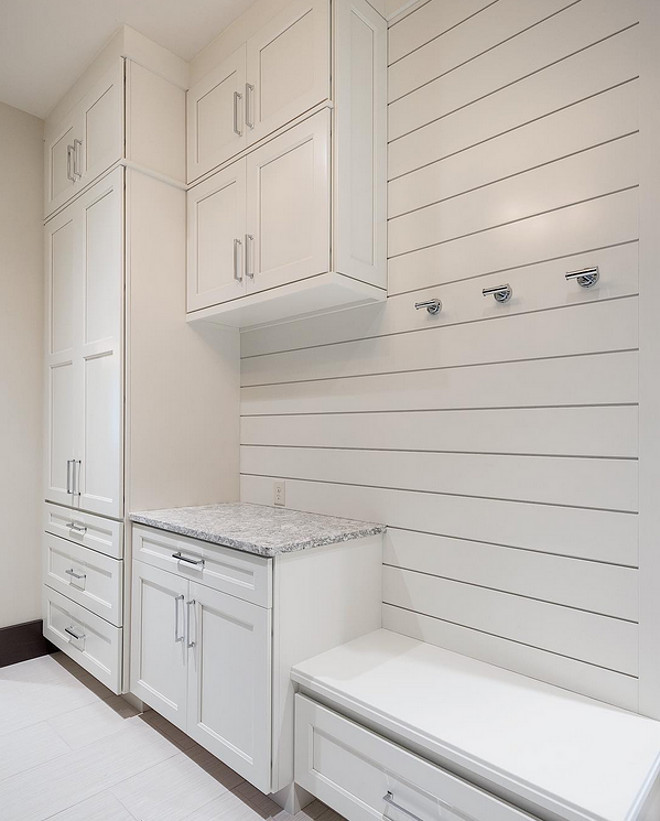 Mudroom. Mudroom inset cabinet ideas. All white mudroom with inset cabinets and shiplap walls. #Mudroom #Mudroominsetcabinet #Insetcabinet #plankwalls #shiplap #mudroomshiplap Sita Montgomery Design Cameo Homes Inc.