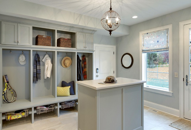 Mudroom island, Mudroom island cabinets, lockers, bench and island An island adds extra storage space to this mudroom #Mudroom #MudroomIsland #Mudroomisland #Mudroomstorage #Mudroomlockers #Mudroombench #Mudroomcabinet