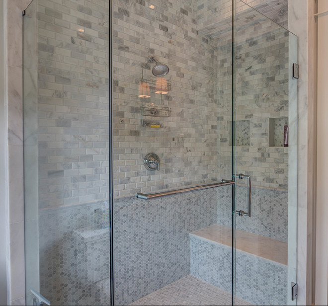 Marble shower tile. Marble shower tile combination. Combination of Marble shower tile. Shower with small marble subway tile and small hex marble tile. #Hextile #marbleHexTile #ShowerHextile #MarbleSubwayTile #ShowerMarbleTile #Showermarbletilecombinaton 30A Interiors