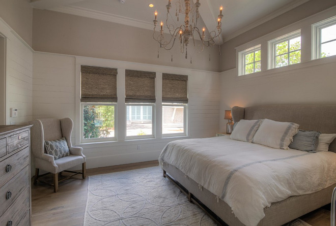 Neutral Bedroom paint color. Neutral Bedroom paint colors. Color combination for neutral bedrooms. The walls are painted Benjamin Moore Elmira White HC-84 and the Shiplap is Benjamin Moore White Dove OC-17. #NeutralBedroompaintcolor #NeutralBedroom #paintcolor.