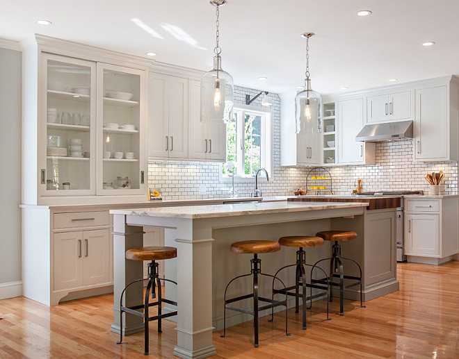 White kitchen with gray island. White kitchen with gray island photos and ideas. White kitchen with gray island paint color. White kitchen with subway tiles and gray island. #WhitekitchenGrayIsland Pennville Custom Cabinetry