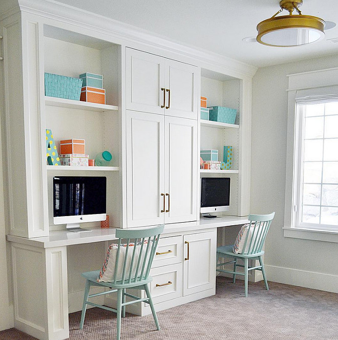 Loft Area Built in Desk. Loft Area Built in Desk Ideas. Loft area features a built in desk for two. Cabinet paint color is Benjamin Moore Simply White. #Loftarea #desk #Builtindesk #Benjaminmooresimplywhite Sita Montgomery Design