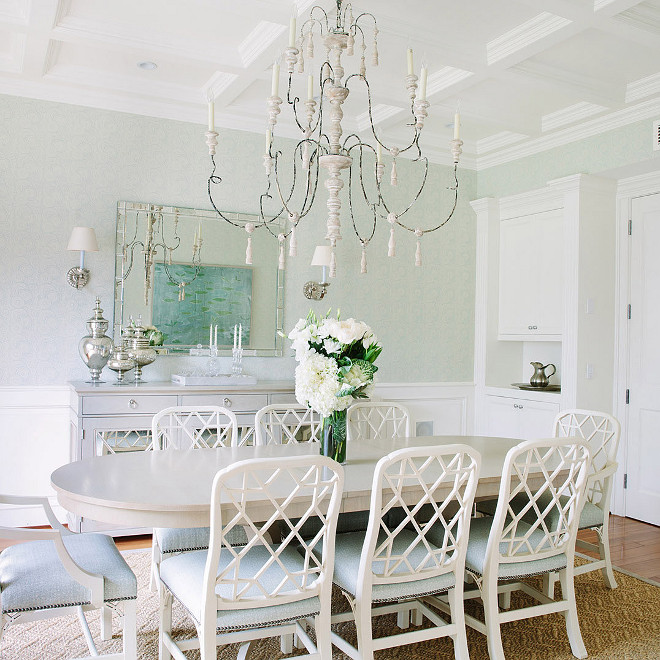Dining Room French Chandelier - Dining room features a large French candle chandelier illuminating a gray oval dining table lined with white lattice back dining chairs accented with light blue seat cushions - #FrenchChandelier #DiningRoom #DiningRoomFrenchChandelier Waterleaf Interiors