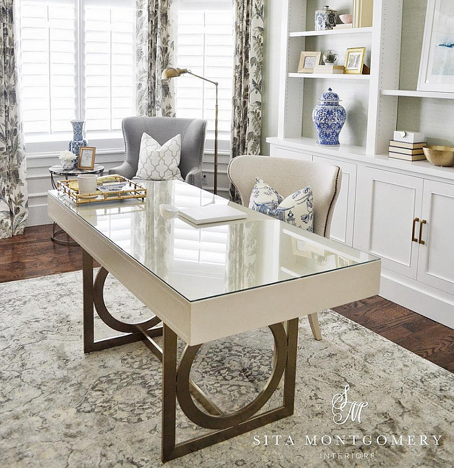 Home Office. Neutral home office with comfortable furniture. Home Office Ideas. Home Office Desk. Home Office Chairs. Home Office Draperies. Home Office Flooring. Home Office rug. Sita Montgomery Interiors