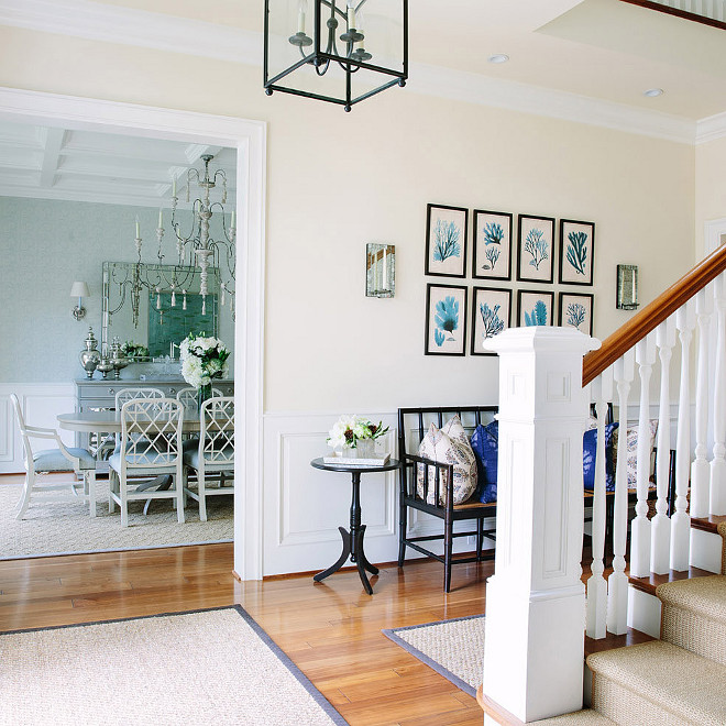 Beach House Foyer with Neutral Walls Waterleaf Interiors