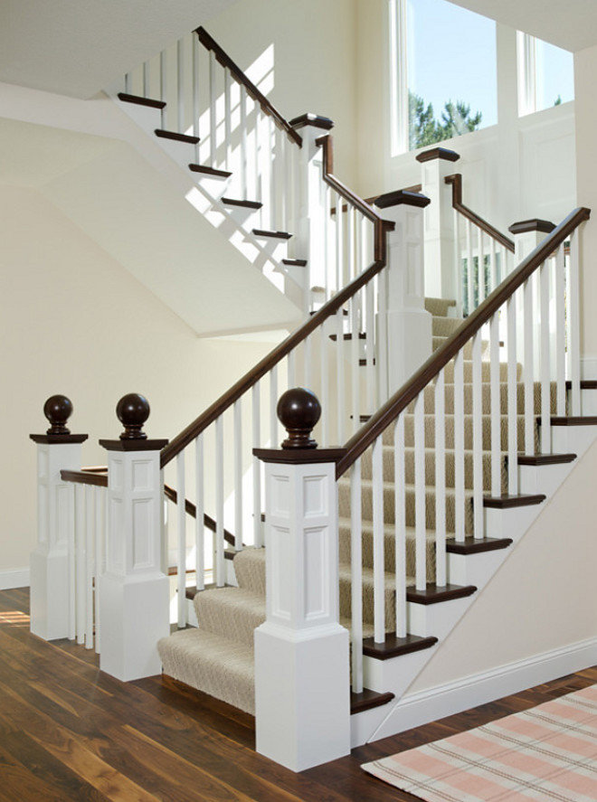 Ball finial, Staircase Custom Millwork, Staircase details, Staircase Herringbone stair runner, Staircase white trim