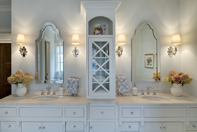 Bathroom Vanity Cabinet, Bathroom with large his and hers sink vanity - cabinet Design by Stonewood, LLC