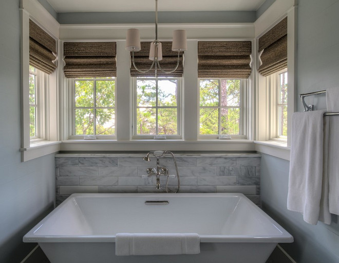Bathroom Window Treatment. Bathroom Window Treatment Ideas. Bathroom with Lined Roman Shades. #BathroomWindowTreatment #BathroomWindows #BathroomRomanShades 30A Interiors