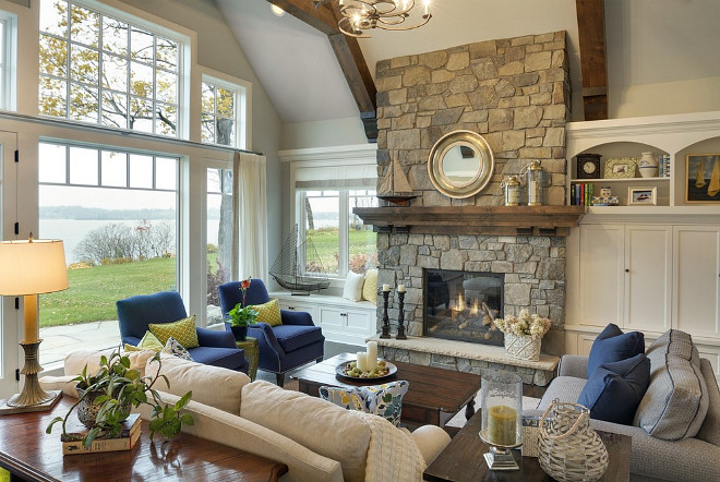 Beach house stone fireplace, Beach house living room stone fireplace #Beachhouse #livingroom #stonefireplace #fireplace Stonewood, LLC.