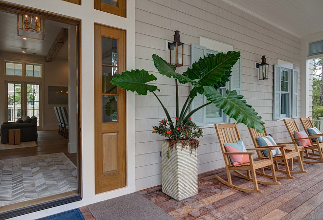 Beach House With Blue Shutters. Beach House Front Porch With Blue Shutters  Porch Rocking Chairs