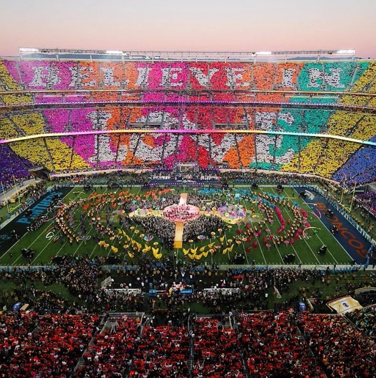 "Believe in Love Coldplay Halftime Super Bowl Message ""Believe in Love"" #Believeinlove #coldplay #Superbowl #halftime #halftimemessage #superbowlmessage via Instagram"
