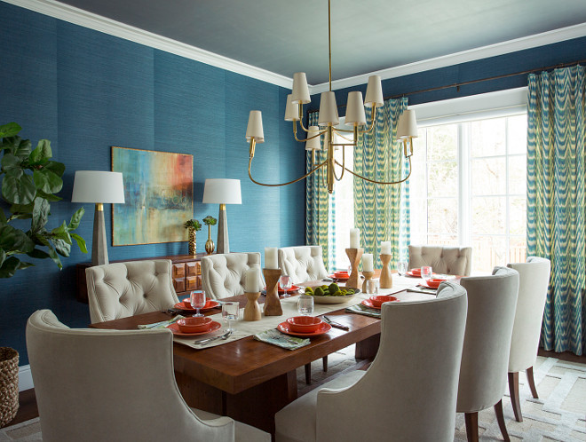 Blue Grasscloth Wallpaper Dark Blue Grasscloth wallpaper by Thibaut #Bluegrasscloth #Bluewallpaper #Bluediningroom Alexandra