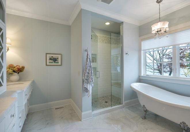 Blue gray bathroom, Bathroom walls painted in Blue gray paint color #Bluegray #PaintColor #Bluegraybathroom #Bluegraypaintcolorbathroompaintcolor Design by Stonewood, LLC