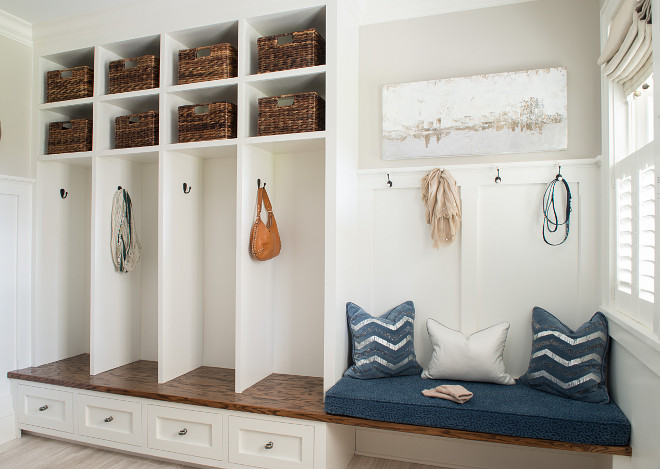 Board and Batten Built in Bench Mudroom, Board and Batten Built in Bench Mudroom Ideas, Board and Batten Mudroom #BoardandBattenMudroom Dalia Canora Design