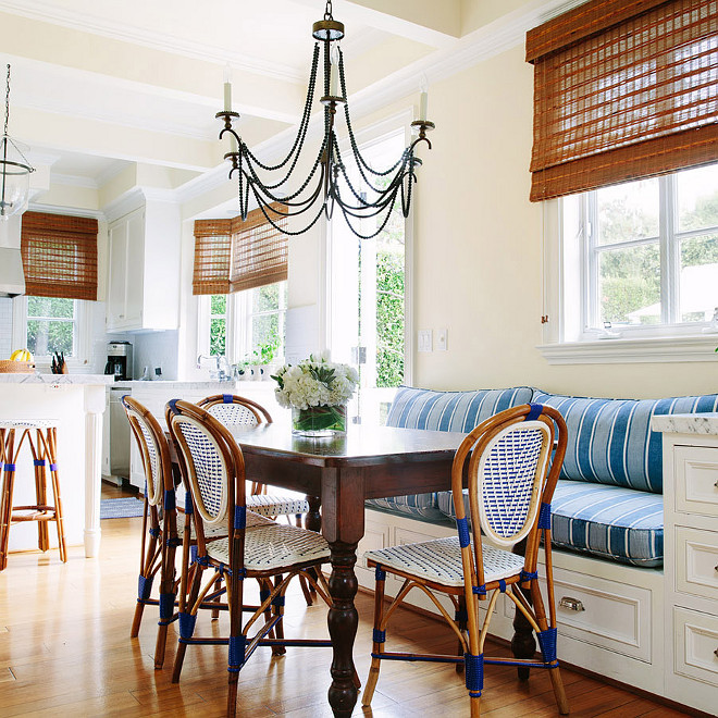 Breakfast Nook Banquette and French Bistro Chairs, Beautiful Breakfast Nook Banquette and French Bistro Chairs #BreakfastNook #BreakfastNookBanquette #Banquette #FrenchBistroChairs Waterleaf Interiors