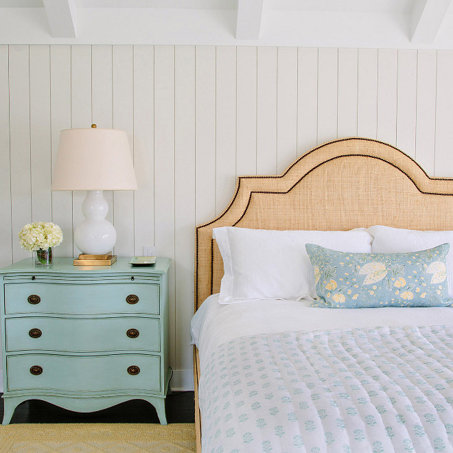 Burlap nailhead headboard, Bedroom with shiplap walls, turquoise nightstand and Burlap nailhead headboard #Burlapheadboard Waterleaf Interiors