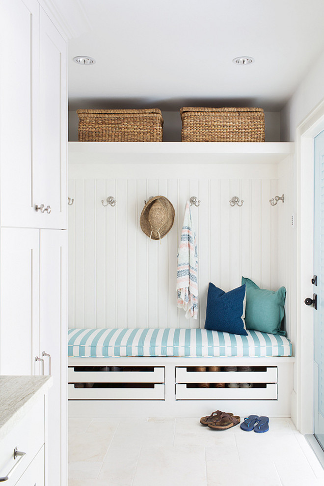 Cottage white and turquoise mudroom room with beadboard walls, #Mudroom #Cottagemudroom #BeachMudroom #BeadboardWallMudroom Lischkoff Design Planning