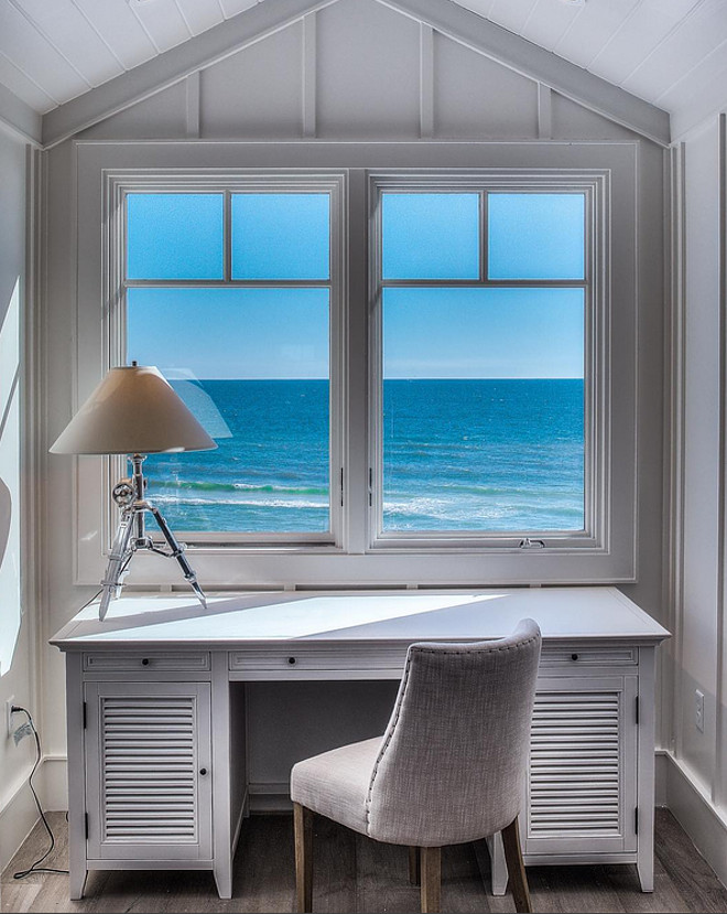 Desk by window with ocean view. 30avibe Photography.