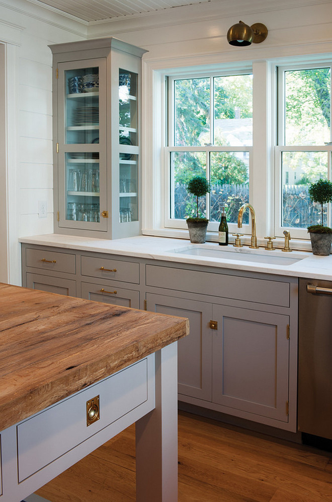 Farrow Ball Dove Tale. Farrow Ball Dove Tale Paint Color. Farrow Ball Dove Tale Kitchen Cabinet and island paint color. #FarrowandBallDoveTale Crown Point Cabinetry