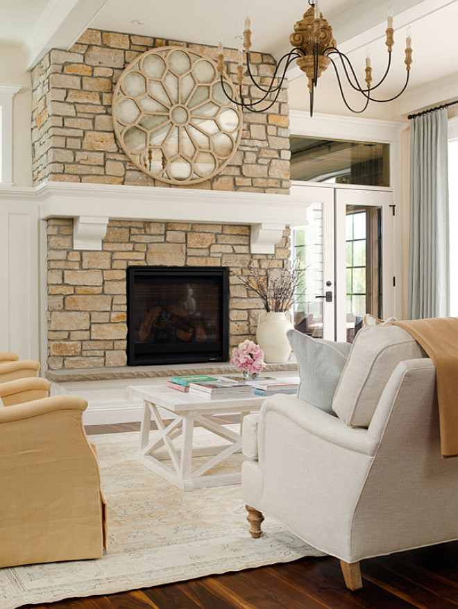 Fireplace Mantel, Fireplace Mantel Ideas, Thick mantel, Thick mantel ideas, Stone fireplace with thick mantel #Mantel #Fireplace #FireplaceMantel #ThickMantel